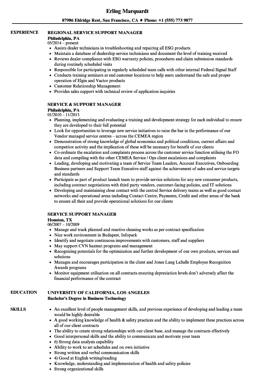 service support manager resume samples