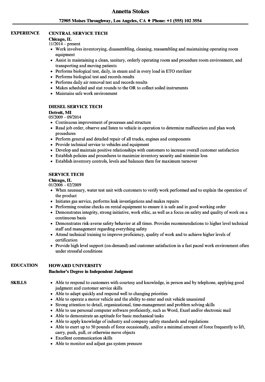 service tech resume samples