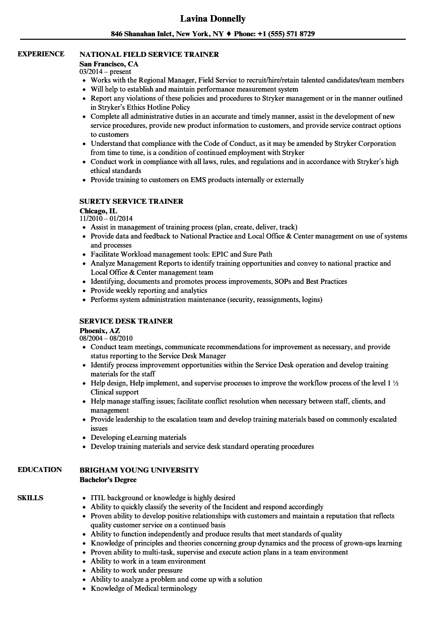 Service Trainer Resume Samples Velvet Jobs
