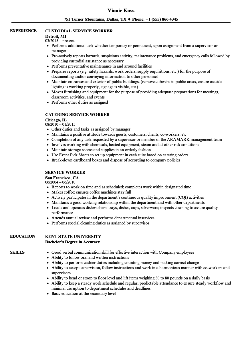 download service worker resume sample as image file