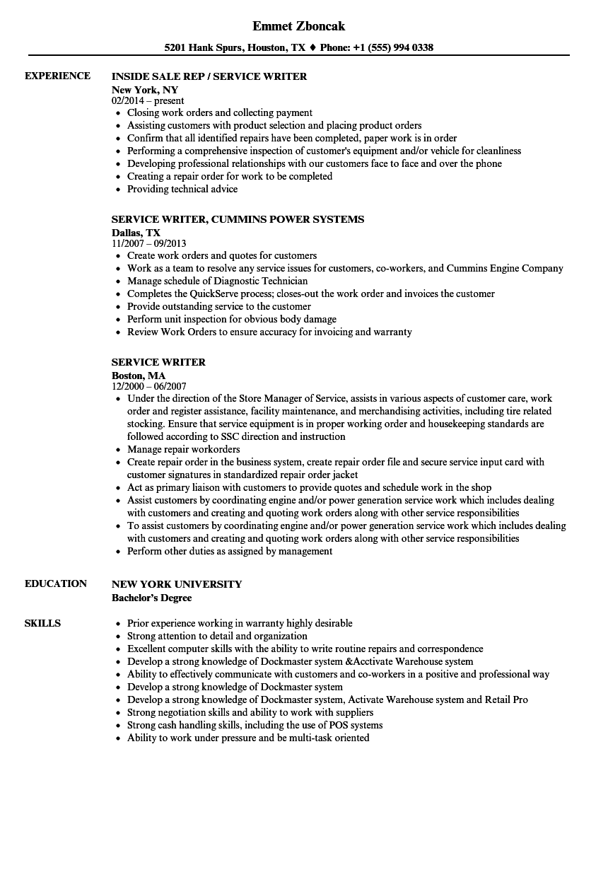 Service Writer Resume Samples | Velvet Jobs