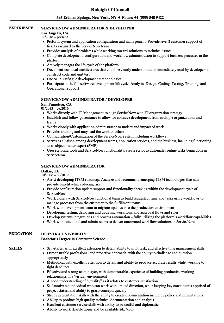 Servicenow Administrator Resume Samples | Velvet Jobs