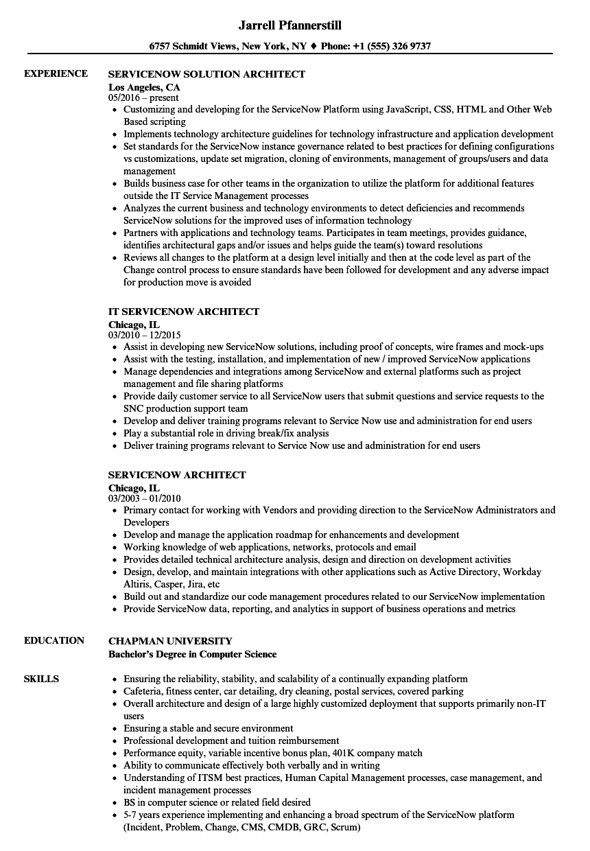 Servicenow Architect Resume Samples | Velvet Jobs
