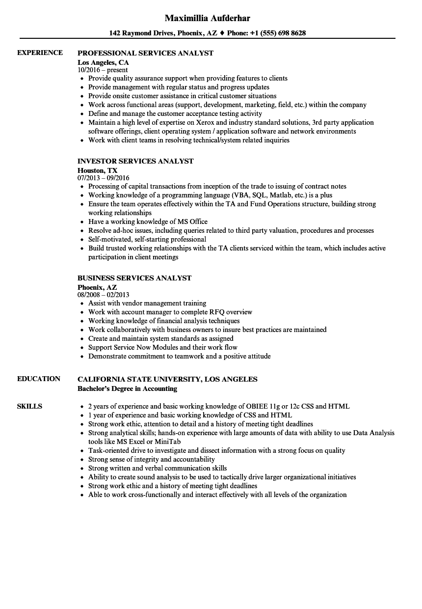 services analyst resume samples