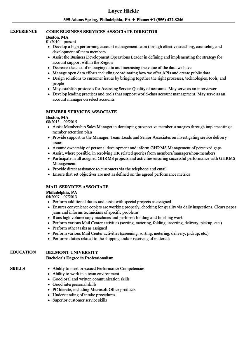 services associate resume samples