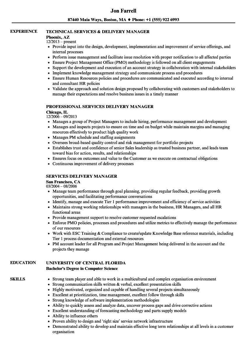 services delivery manager resume samples