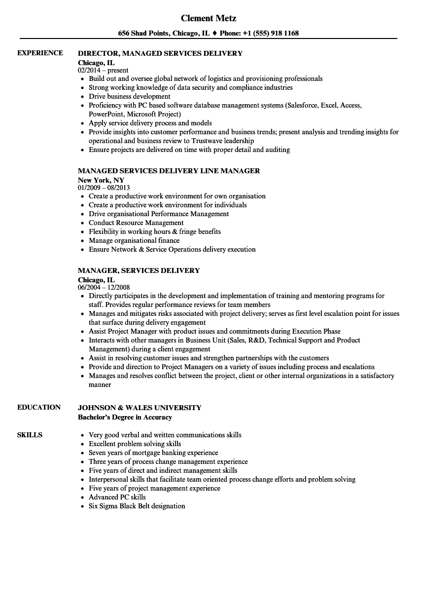 services delivery resume samples