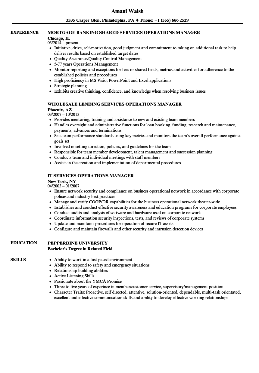 Download Services Operations Manager Resume Sample As Image File  Operations Manager Resume