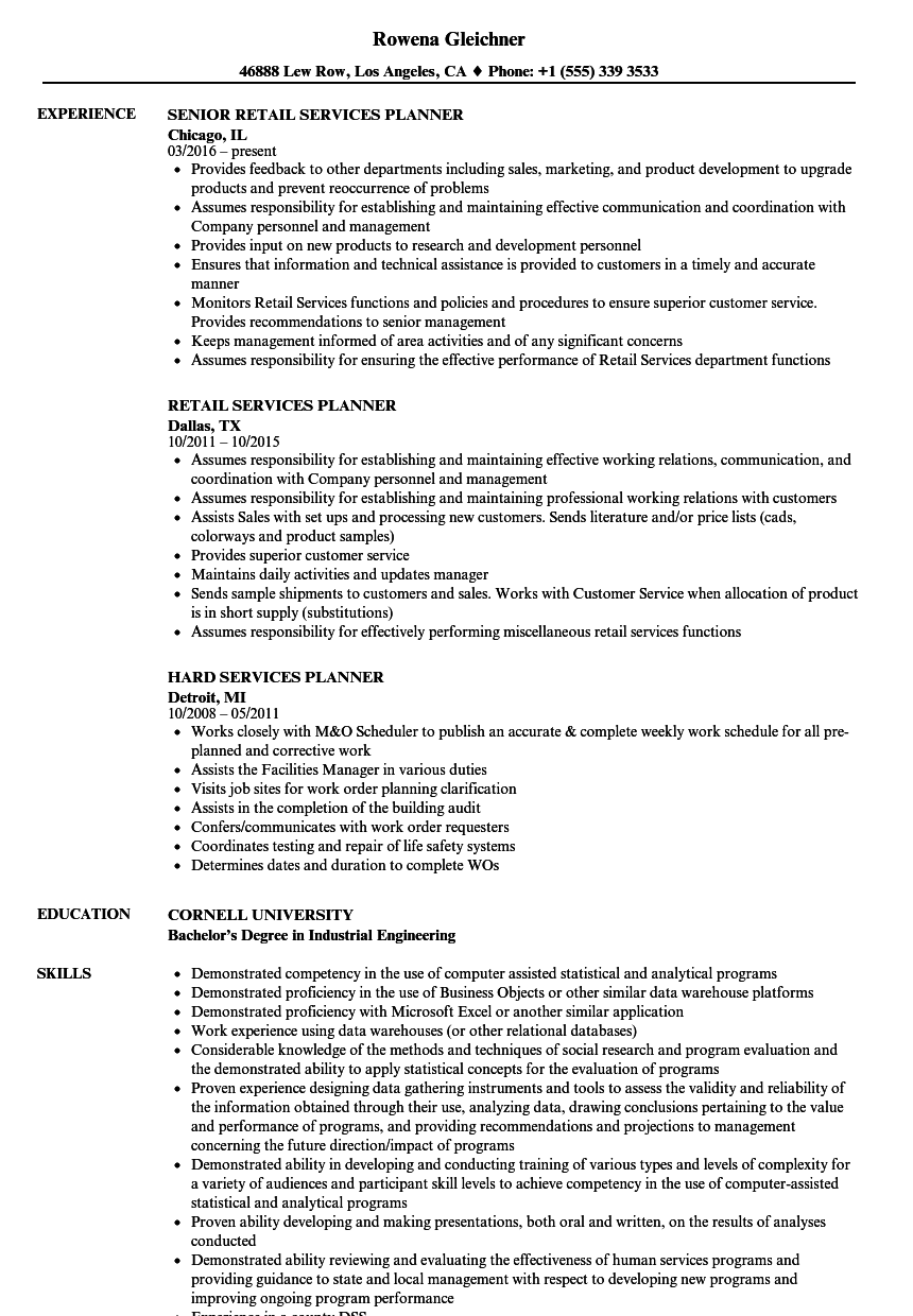 services planner resume samples velvet jobs