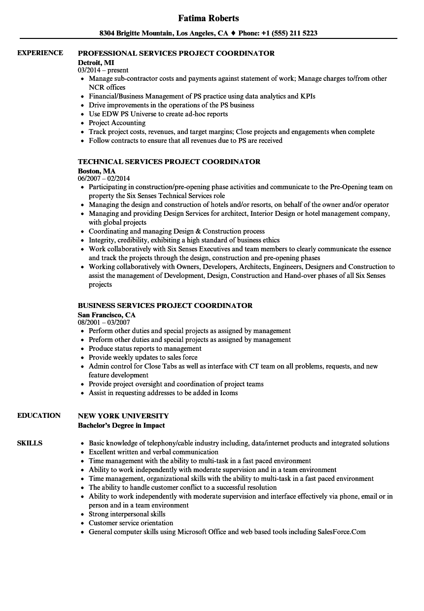 services project coordinator resume samples