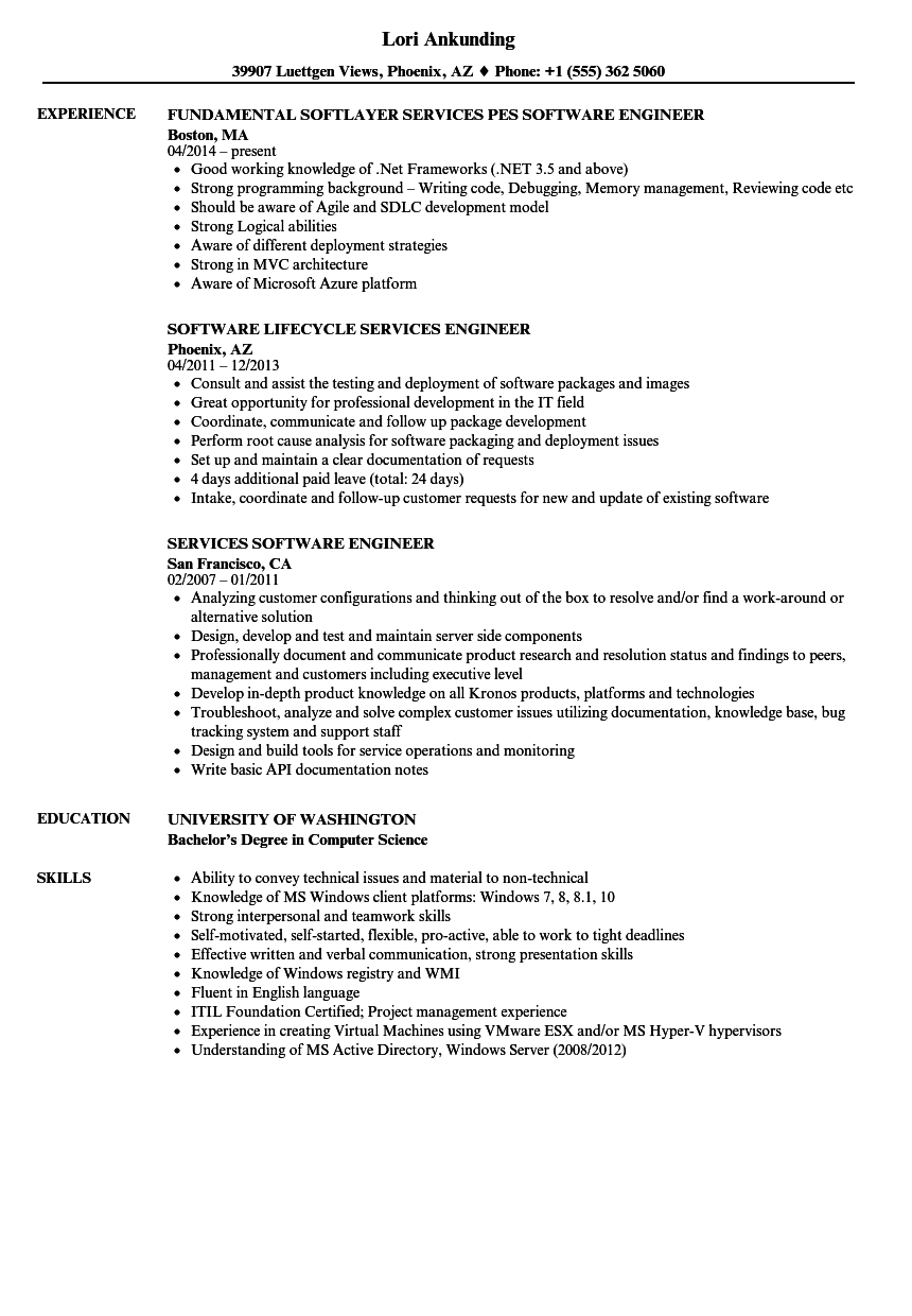 Services Software Engineer Resume Samples | Velvet Jobs