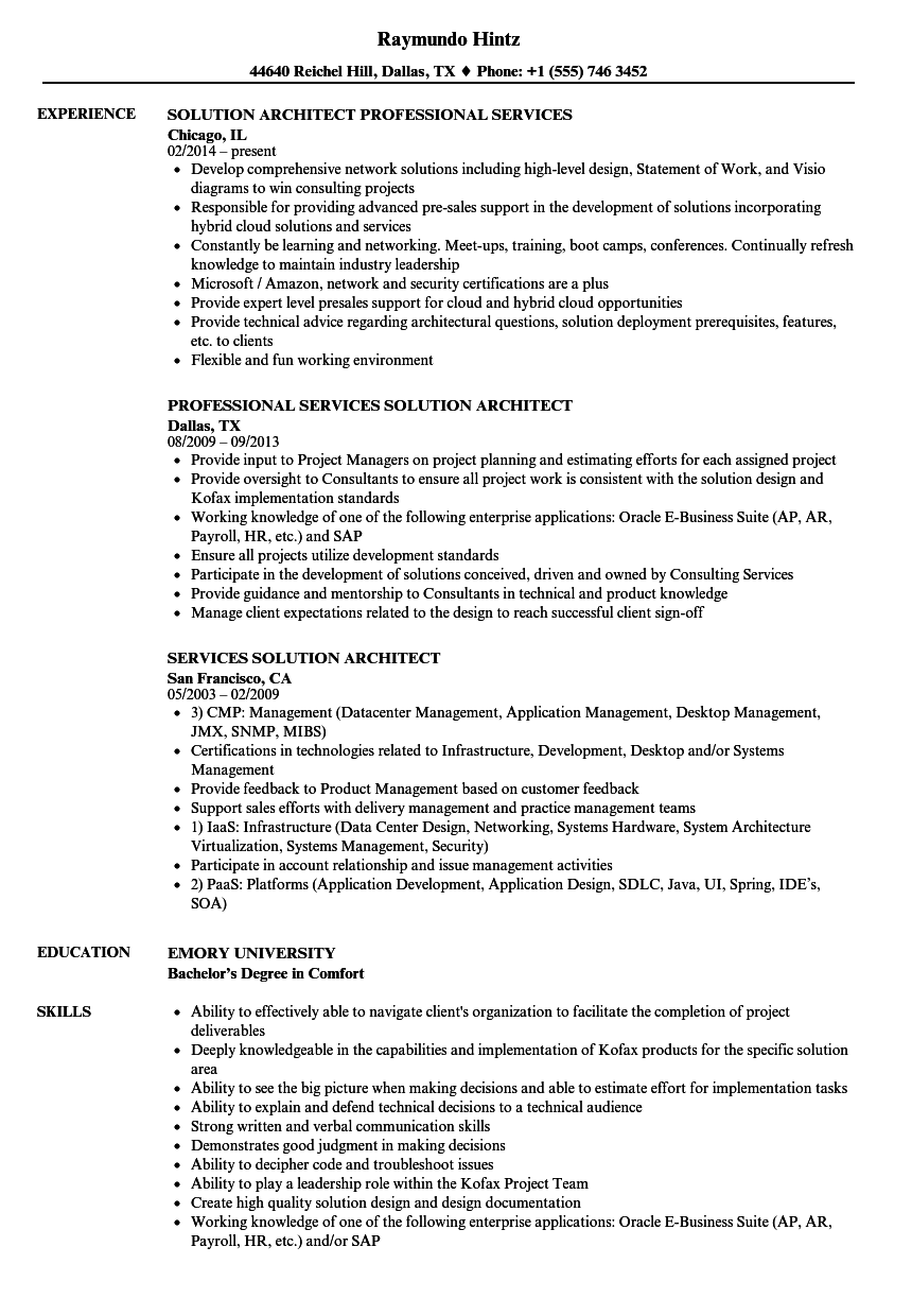 services solution architect resume samples