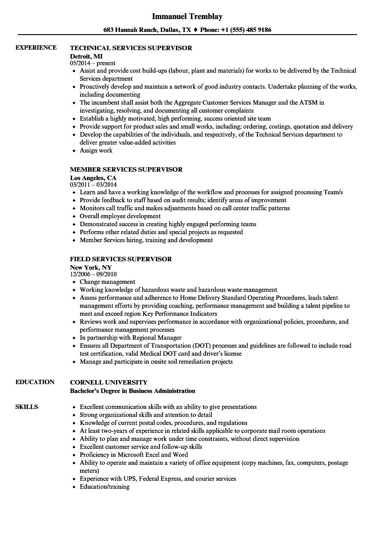 Services Supervisor Resume Samples | Velvet Jobs