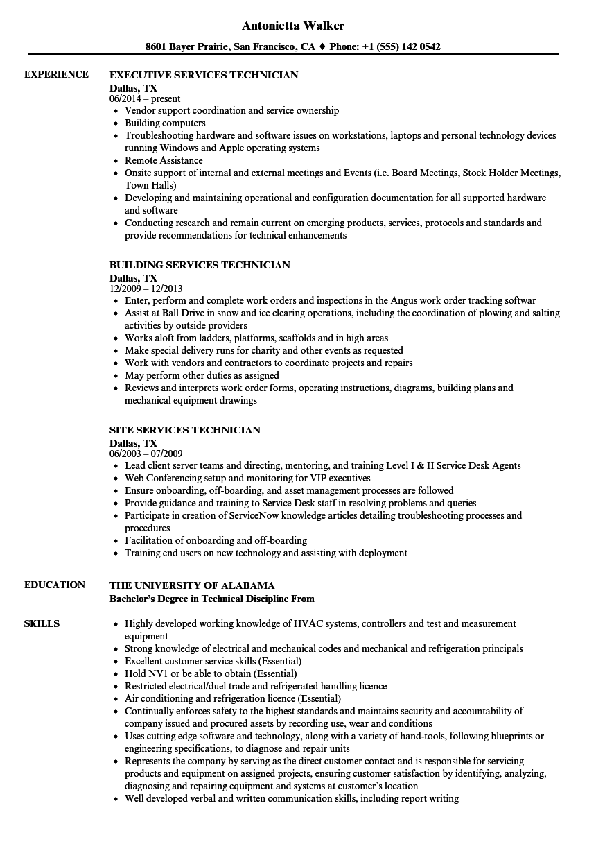 services technician resume samples velvet jobs