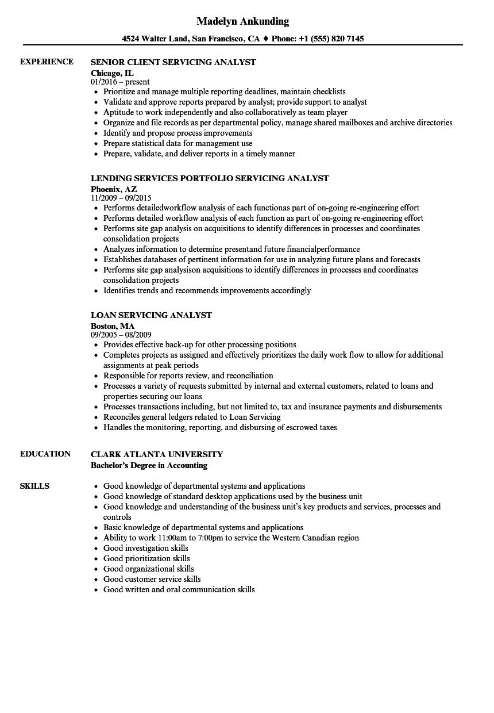 servicing analyst resume samples