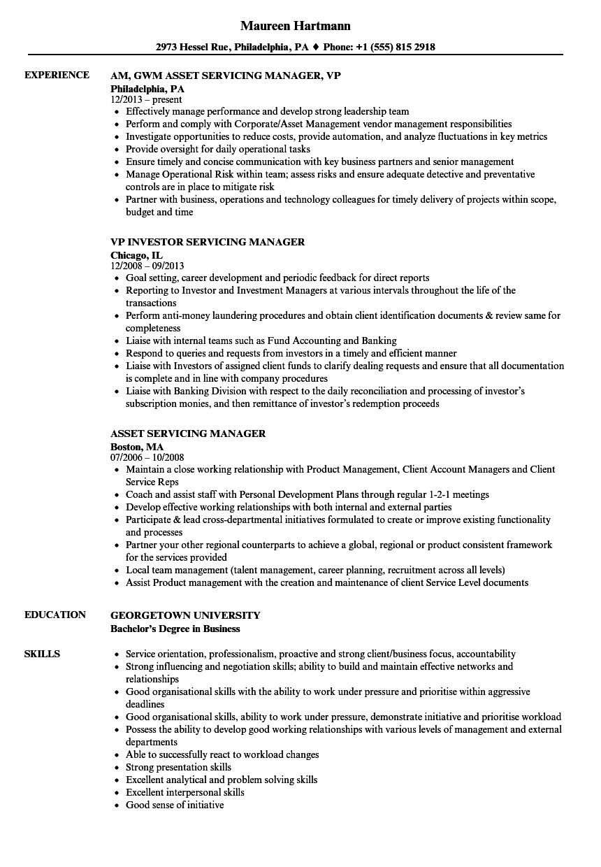 Servicing Manager Resume Samples | Velvet Jobs