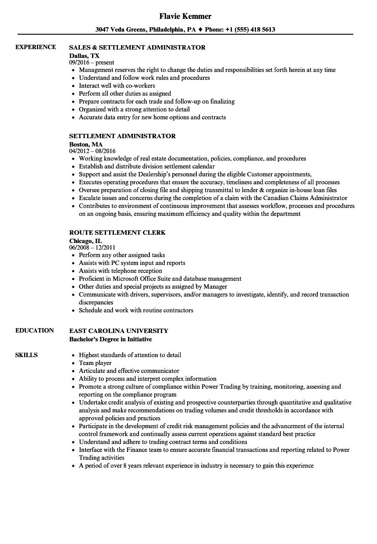 Settlement Resume Samples Velvet Jobs