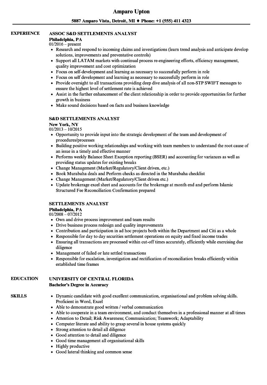 Settlements Analyst Resume Samples | Velvet Jobs