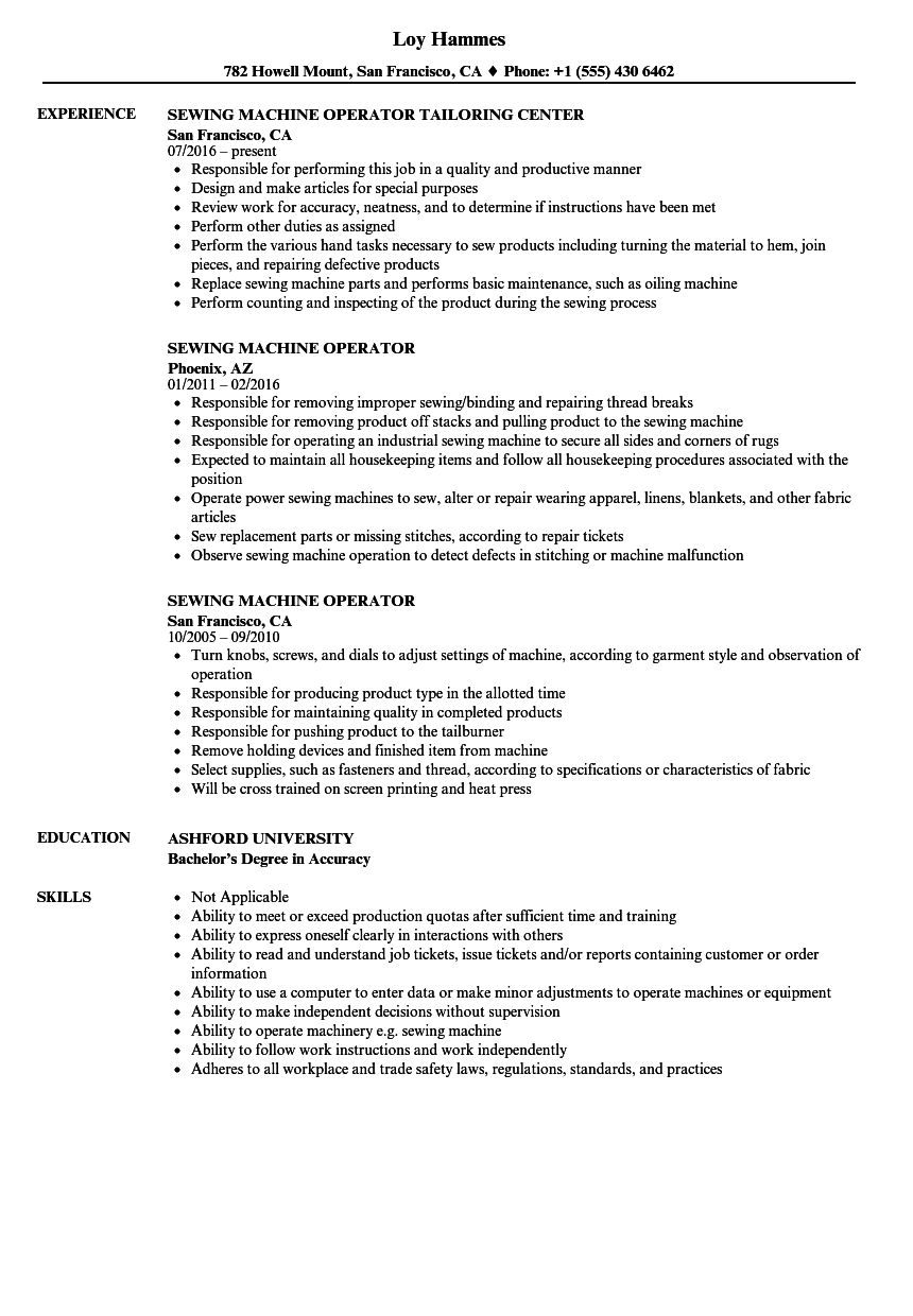 sample resume for machine operator position - sewing machine operator resume samples velvet jobs