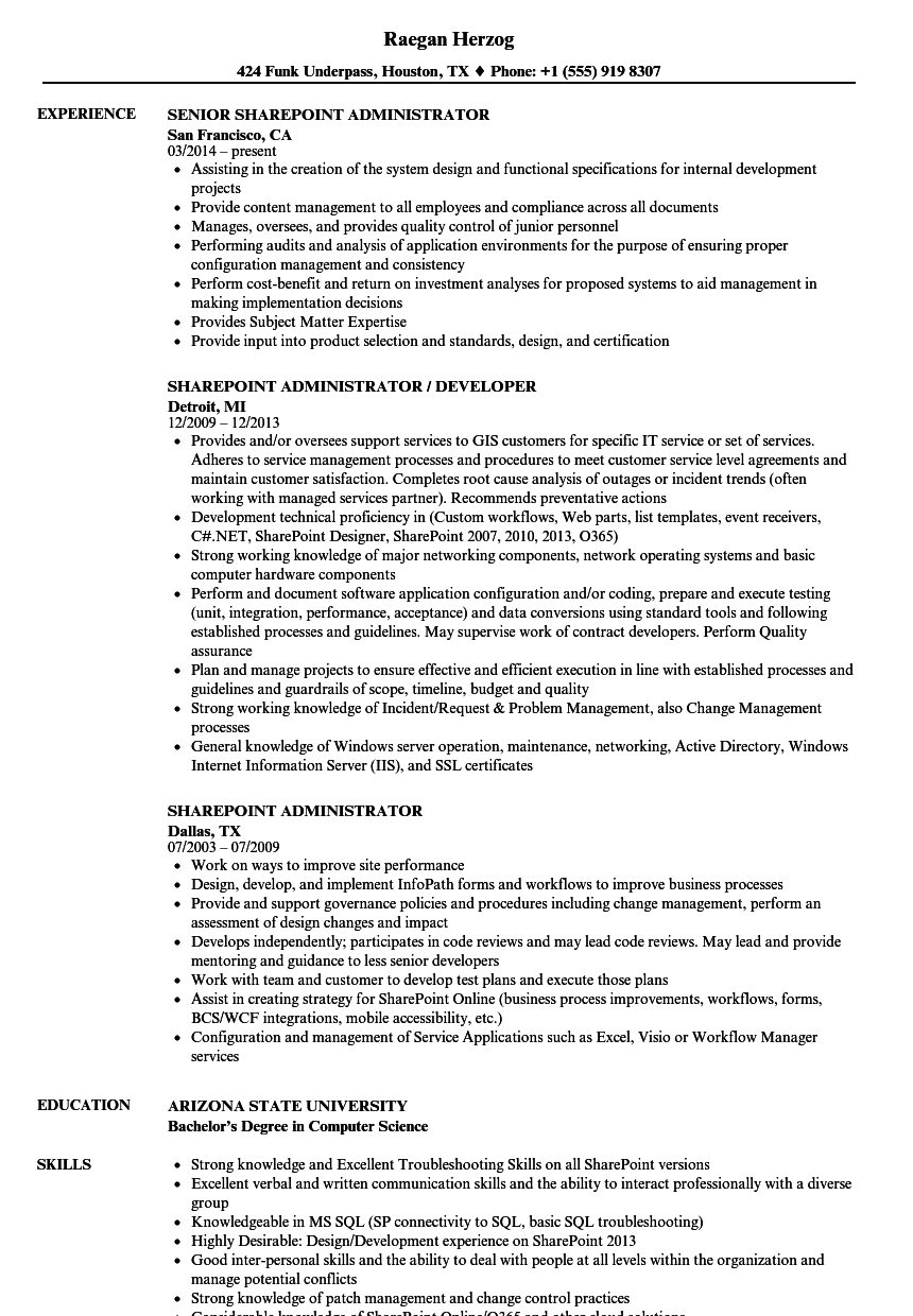 sharepoint administrator resume samples velvet jobs