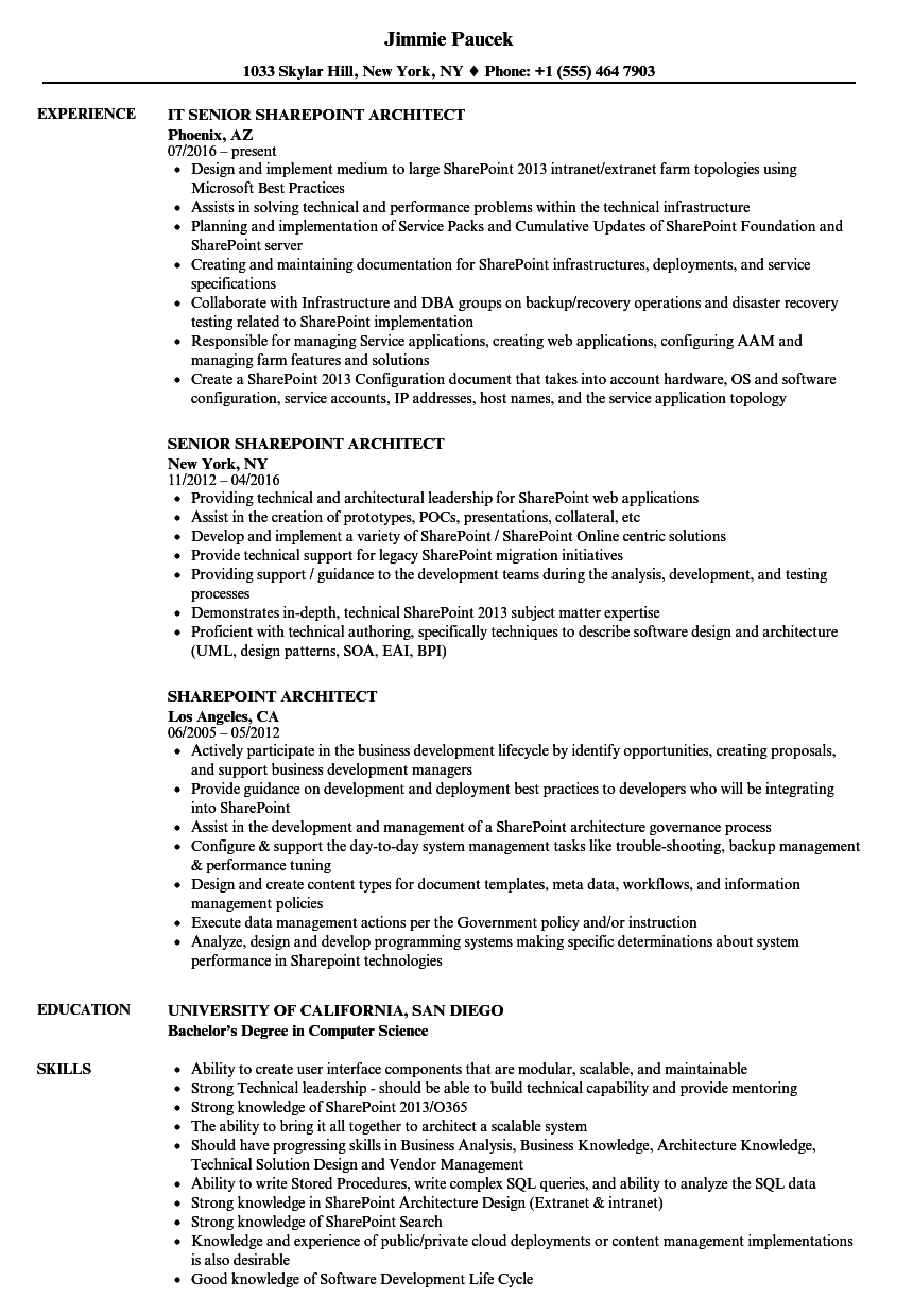sharepoint sample resume developers - sharepoint architect resume samples velvet jobs