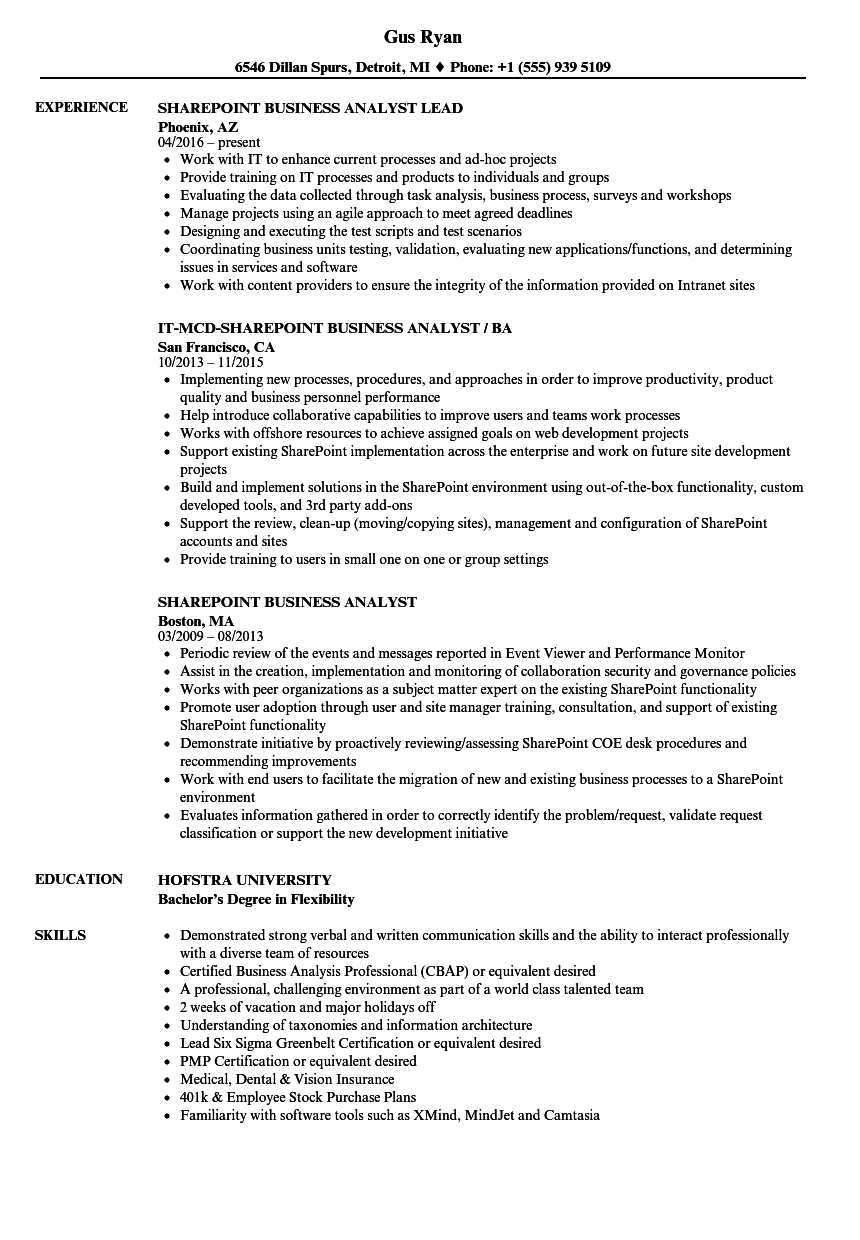 Sharepoint Business Analyst Resume Samples | Velvet Jobs