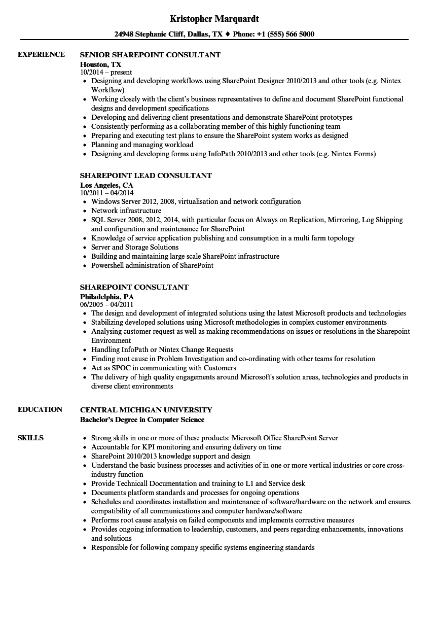 sharepoint consultant resume samples velvet jobs