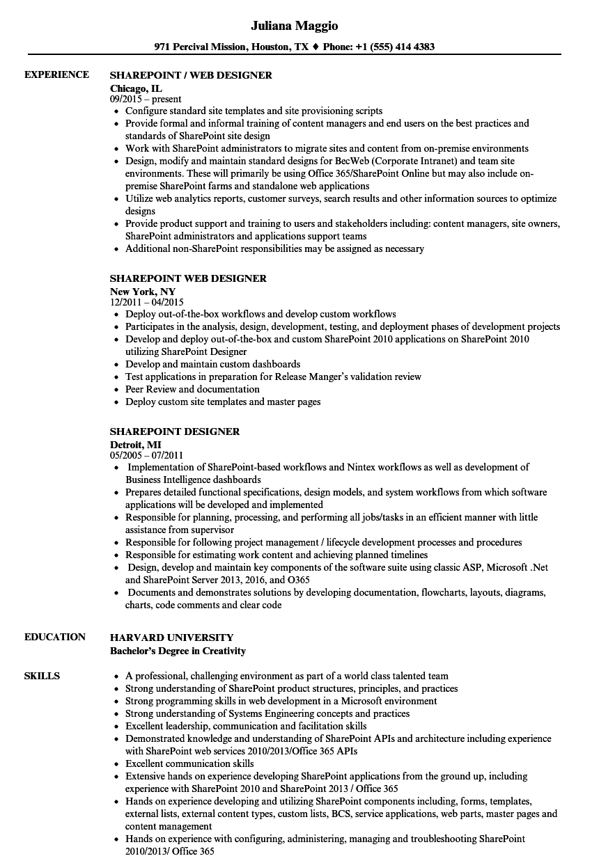 Sharepoint Designer Resume Samples | Velvet Jobs