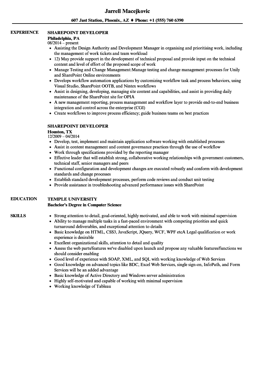 sharepoint developer resume samples velvet jobs
