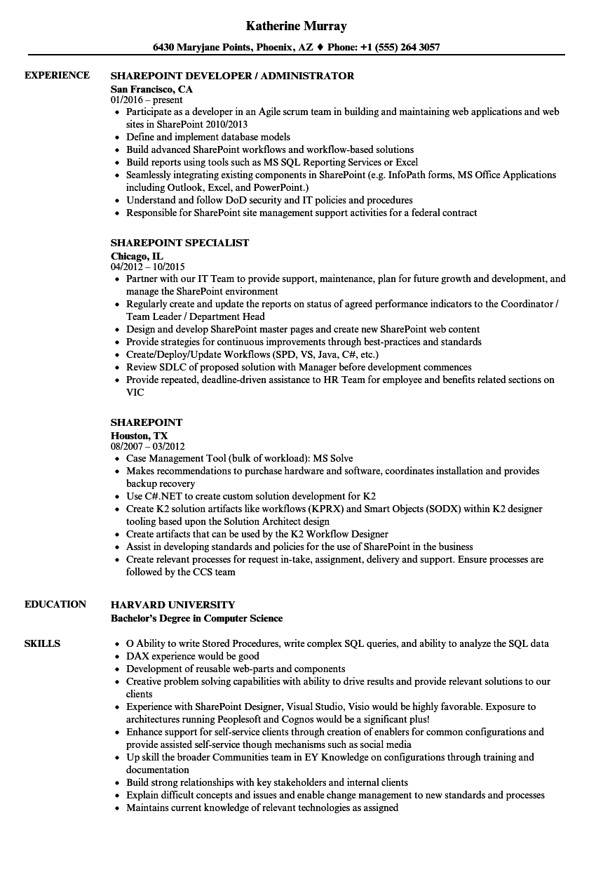 Sharepoint Resume Samples Velvet Jobs
