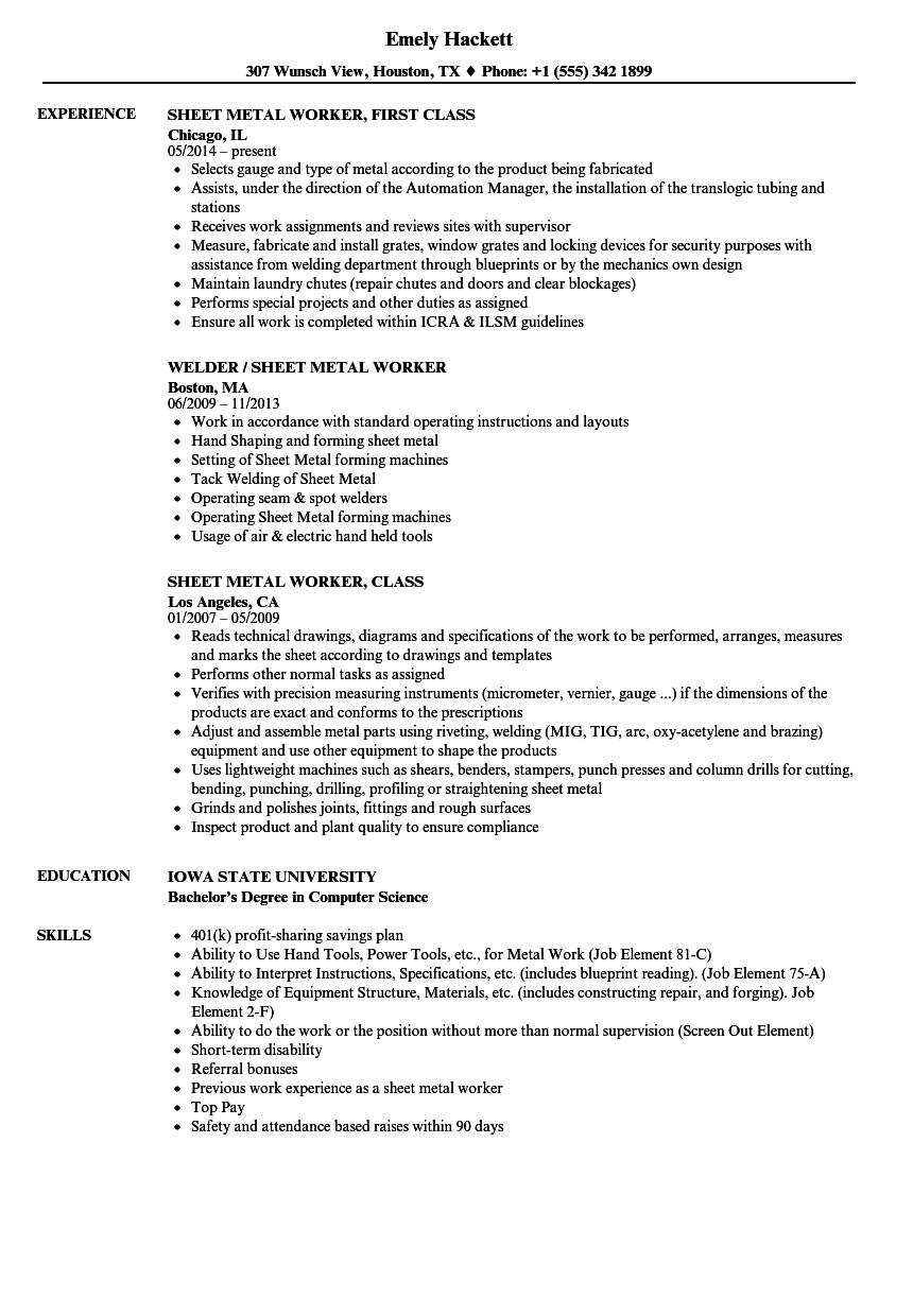 Sheet Metal Worker Resume Samples | Velvet Jobs