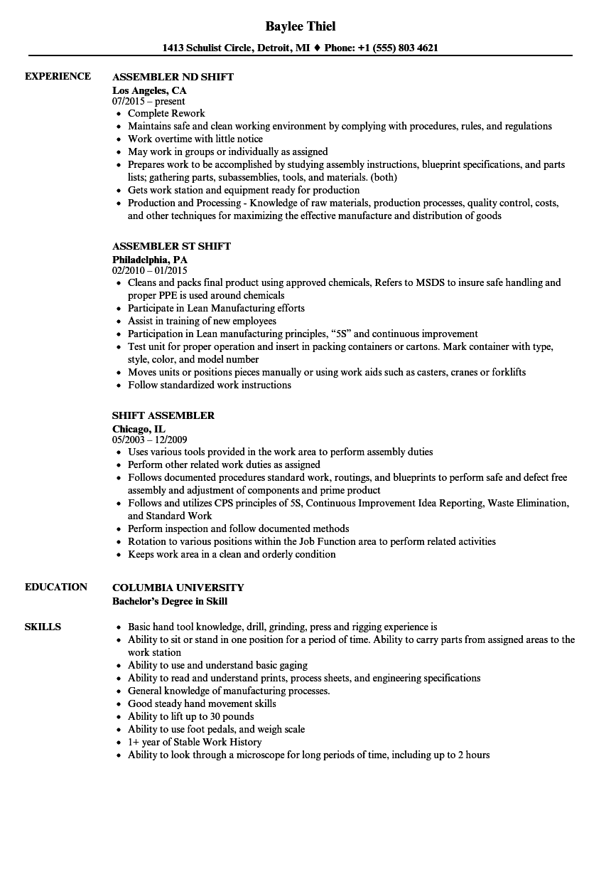 Shift Assembler Resume Samples Velvet Jobs