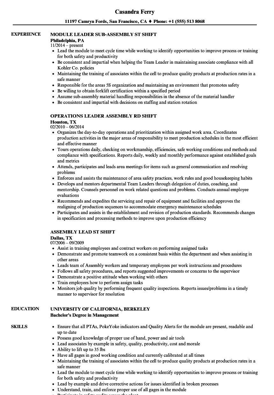 shift assembly resume samples