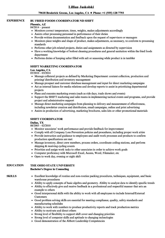 shift coordinator resume samples velvet jobs