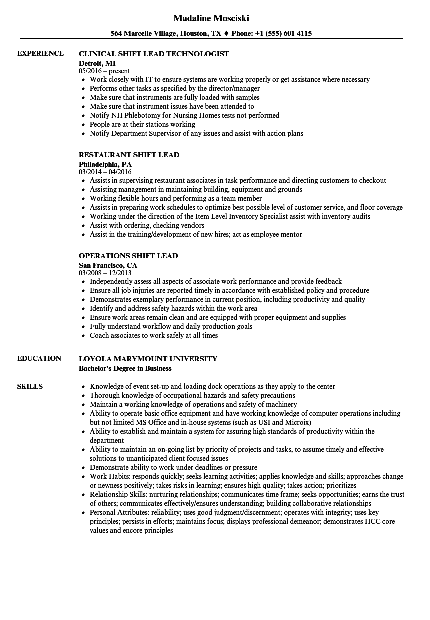 Shift Lead Resume Samples | Velvet Jobs