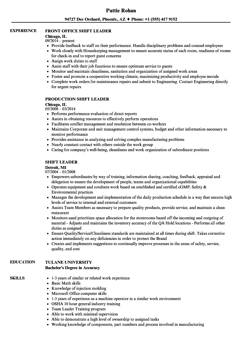 Shift Leader Resume Samples | Velvet Jobs