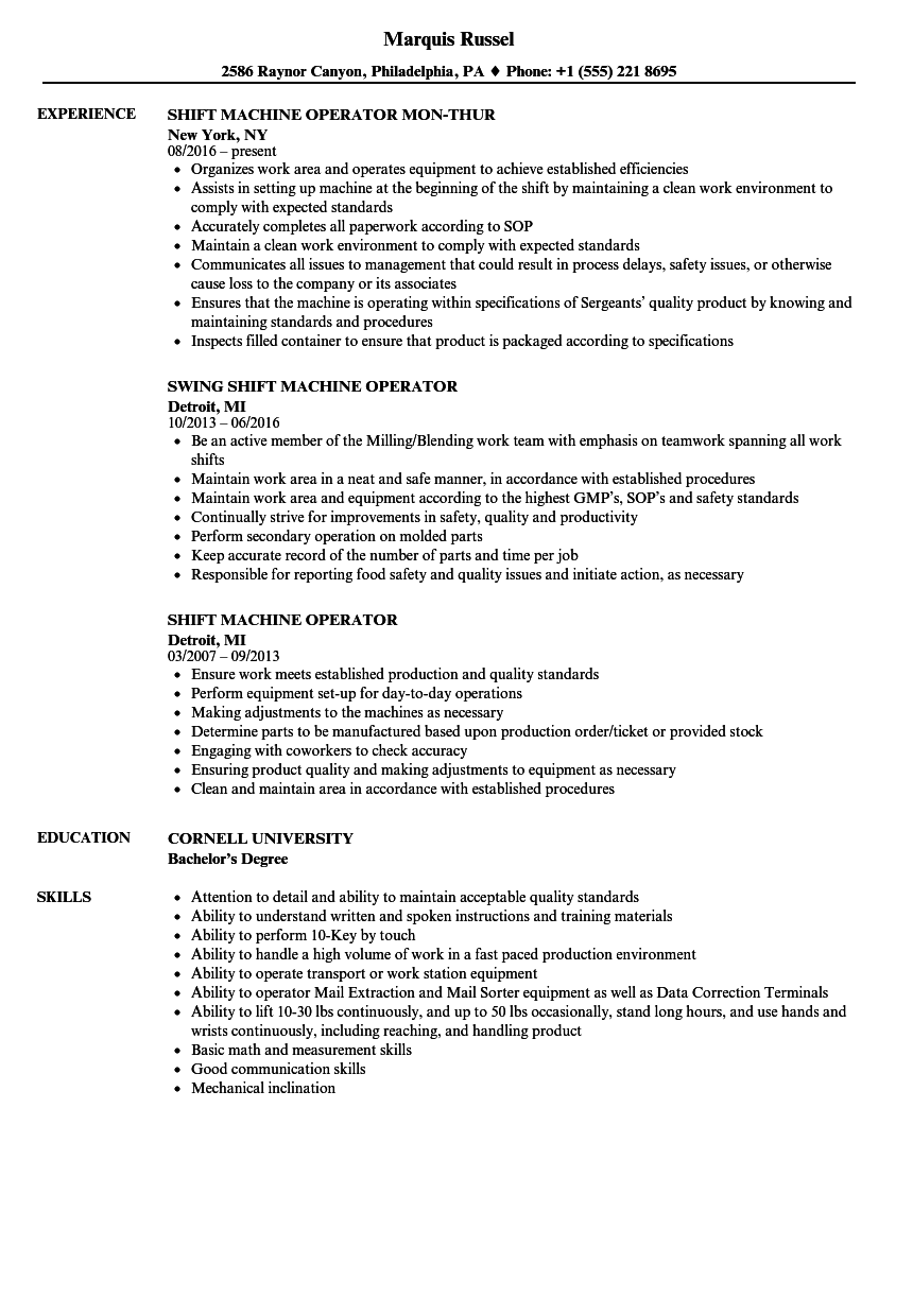 Nice Download Shift Machine Operator Resume Sample As Image File On Machine Operator Resume