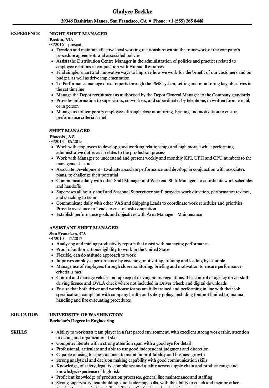 Shift Manager Resume Samples | Velvet Jobs