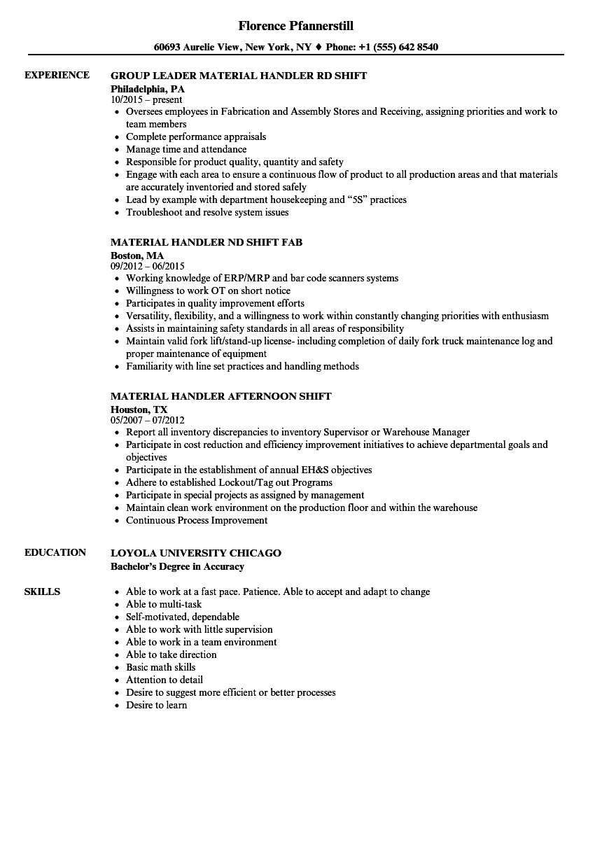 Shift Material Handler Resume Samples | Velvet Jobs