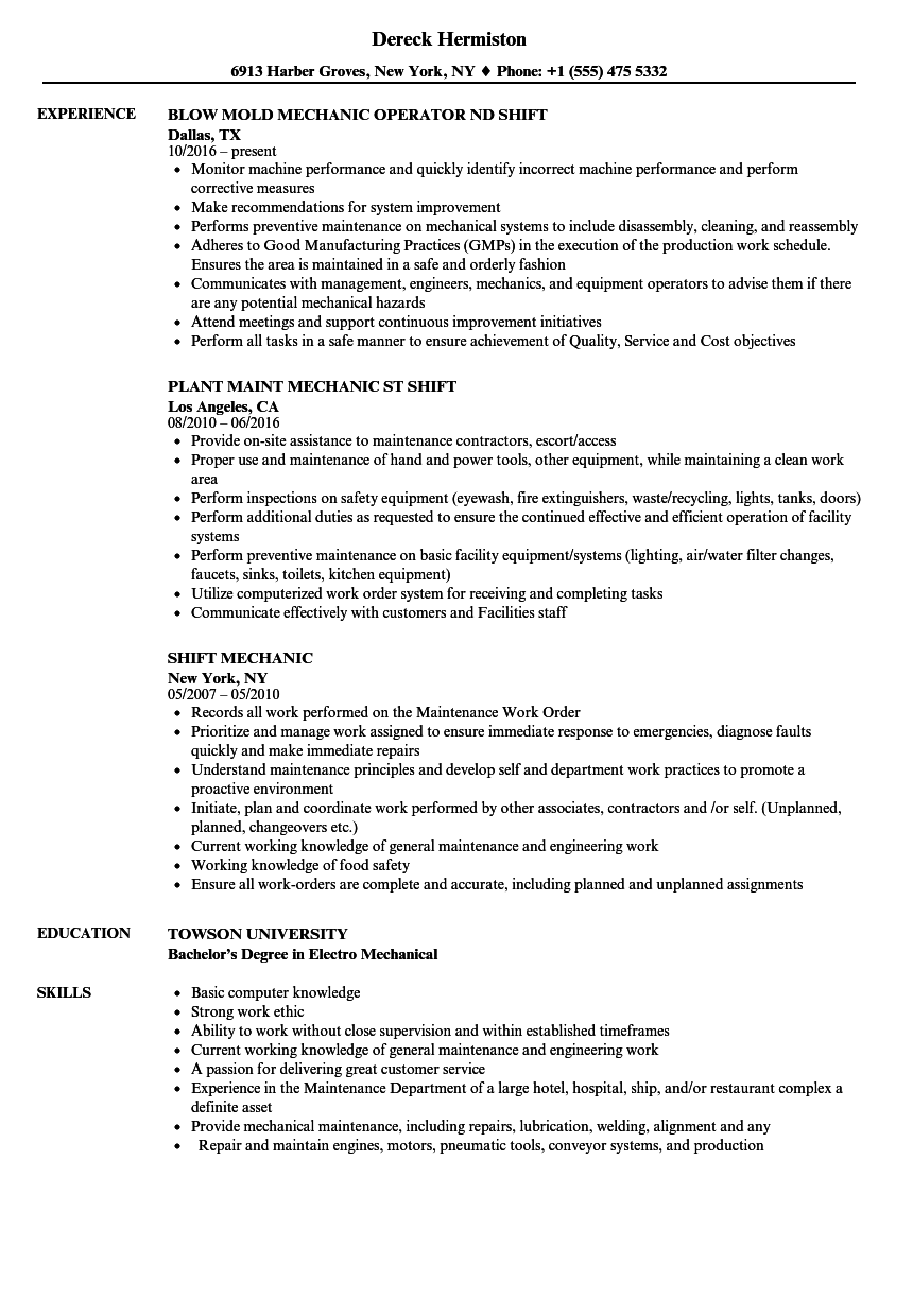 Shift Mechanic Resume Samples | Velvet Jobs