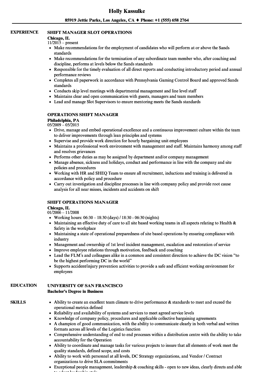 shift operations manager resume samples