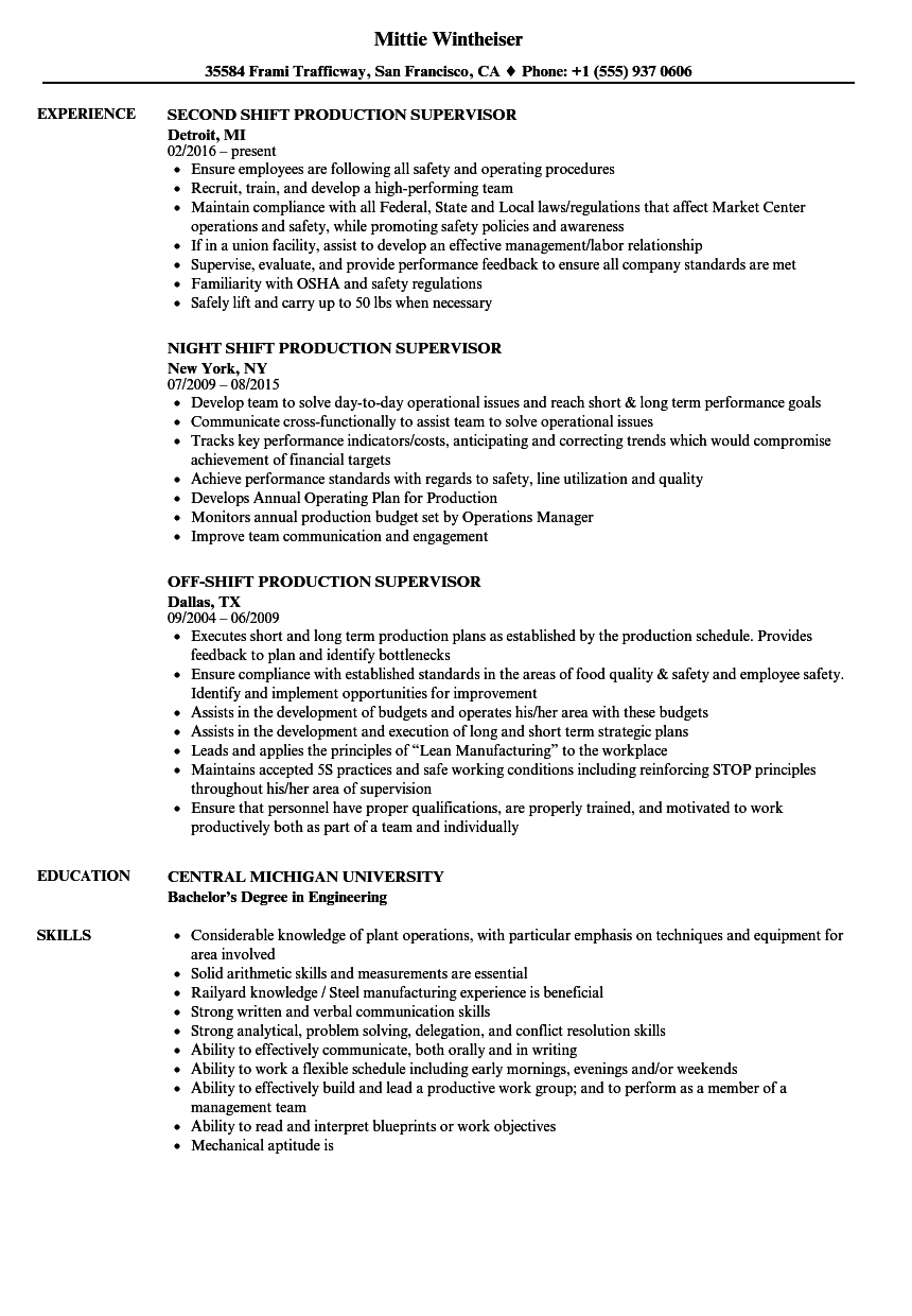Shift Production Supervisor Resume Samples | Velvet Jobs