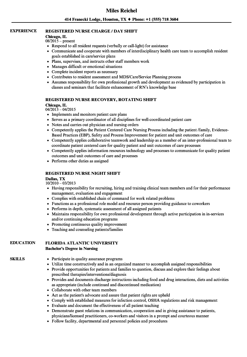 shift registered nurse resume samples