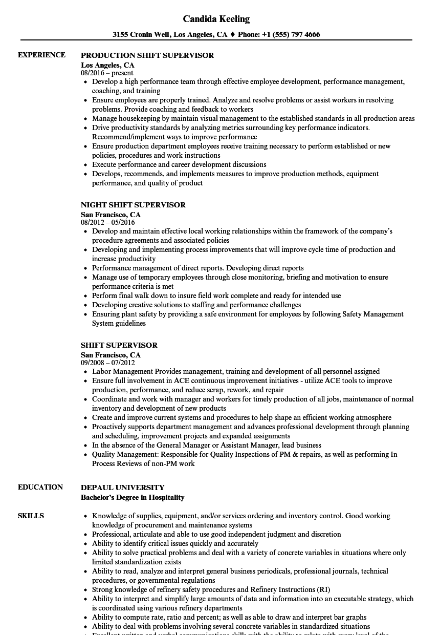shift supervisor resume samples