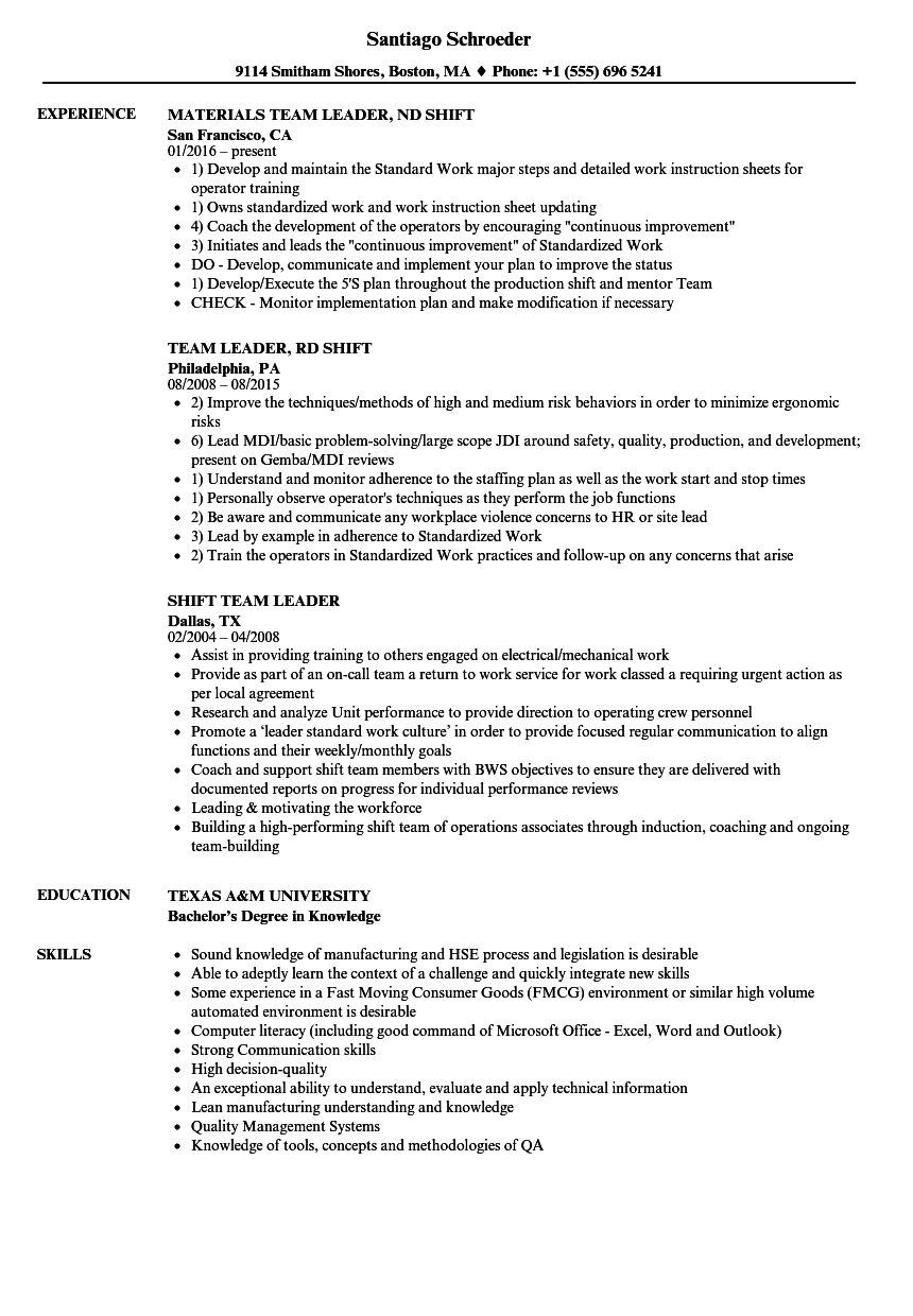 Shift Team Leader Resume Samples | Velvet Jobs