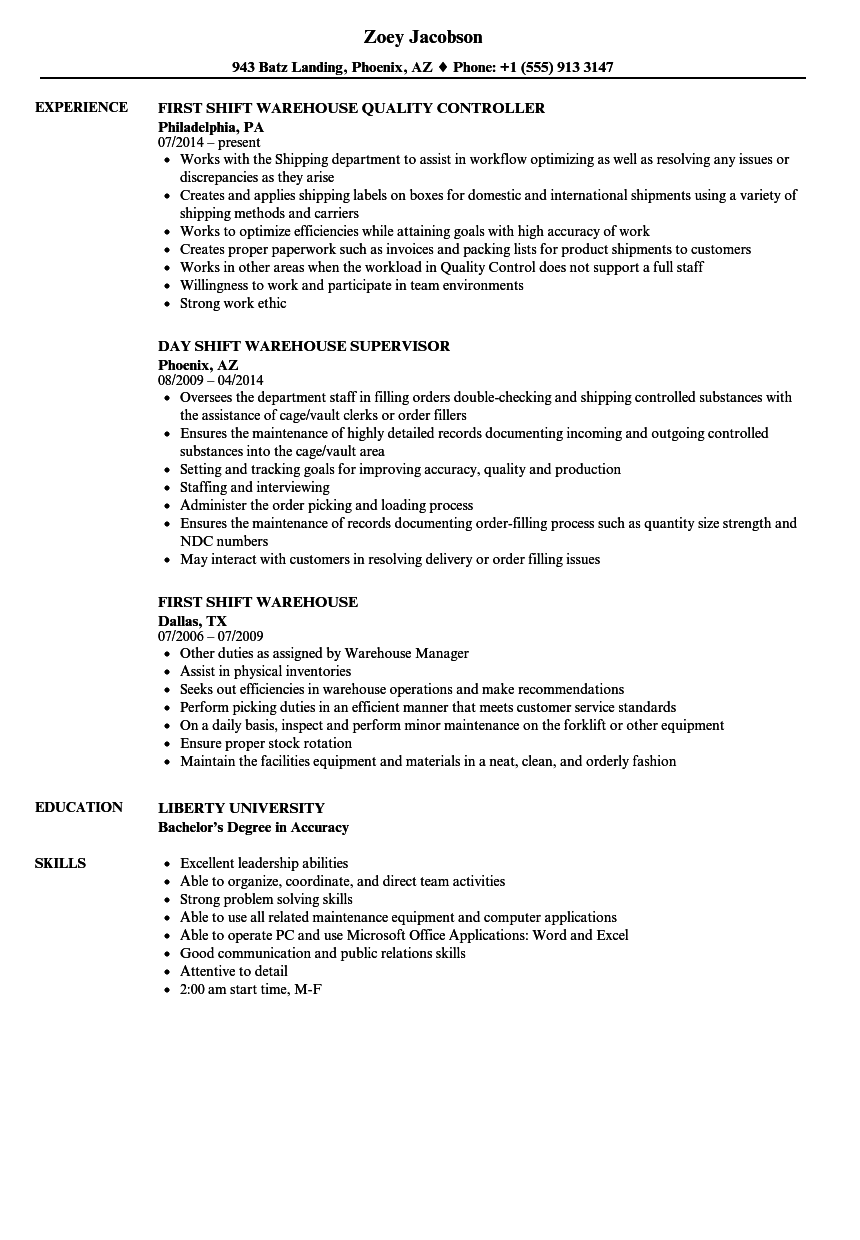 Shift Warehouse Resume Samples Velvet Jobs
