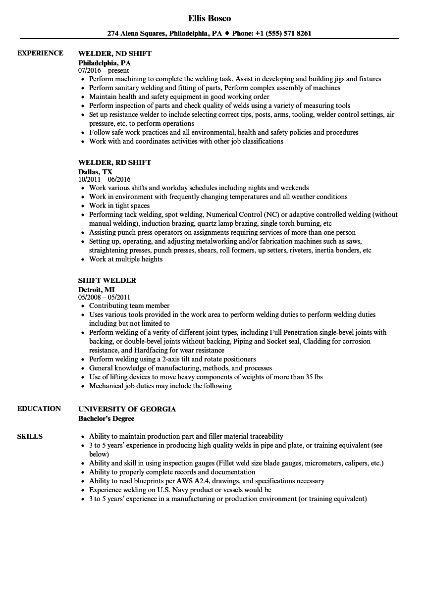 download shift welder resume sample as image file - Welder Resume Examples