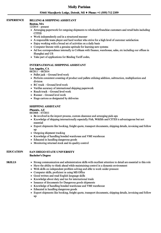 Shipping Assistant Resume Samples | Velvet Jobs
