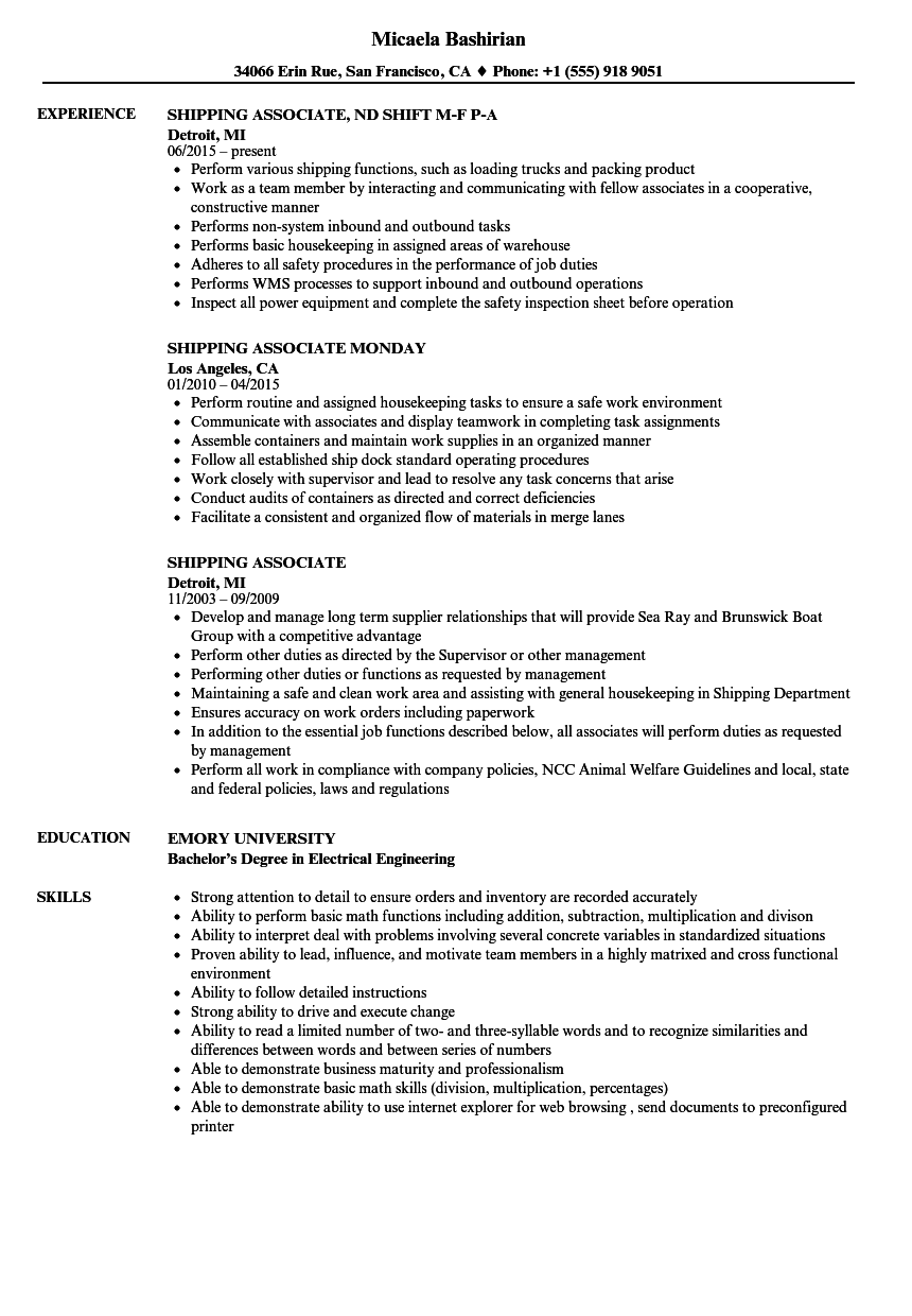 shipping associate resume samples