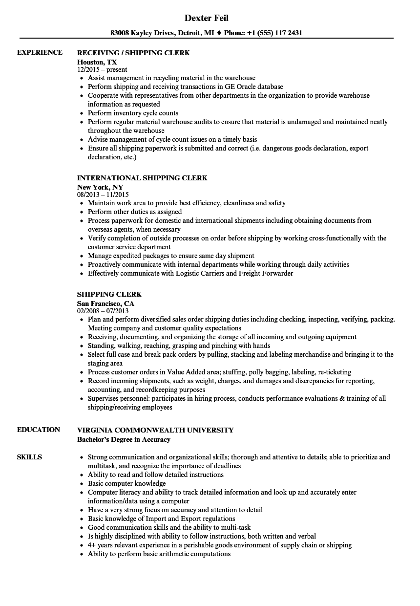 resume Shipping Clerk Resume shipping clerk resume samples velvet jobs download sample as image file